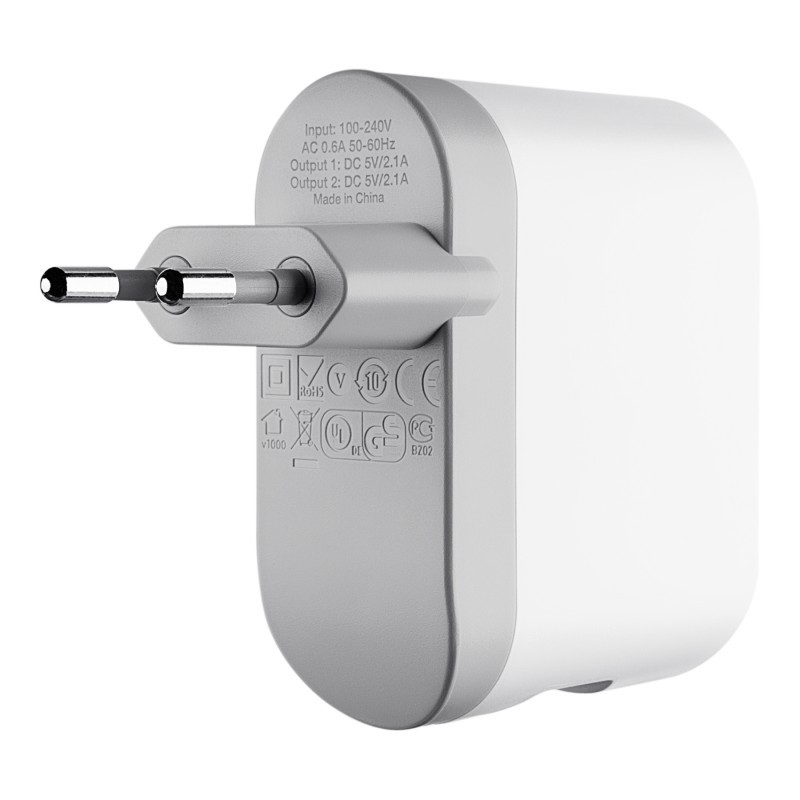 Dual USB Wall Charger 2 x 2.1A White