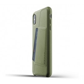Mujjo Leather Wallet Case iPhone XS Max groen