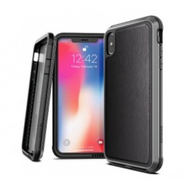 X-Doria Defense Lux Leather cover iPhone XS Max zwart