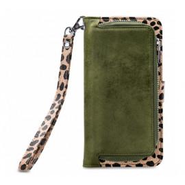 Mobilize 2in1 Gelly Wallet Zipper Case iPhone 11 olijfgroen / leopard