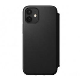 Nomad Rugged Folio Leather Case iPhone 12 Mini zwart