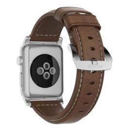 Nomad traditioneel leren bandje Apple Watch 42 / 44 mm bruin / zilver