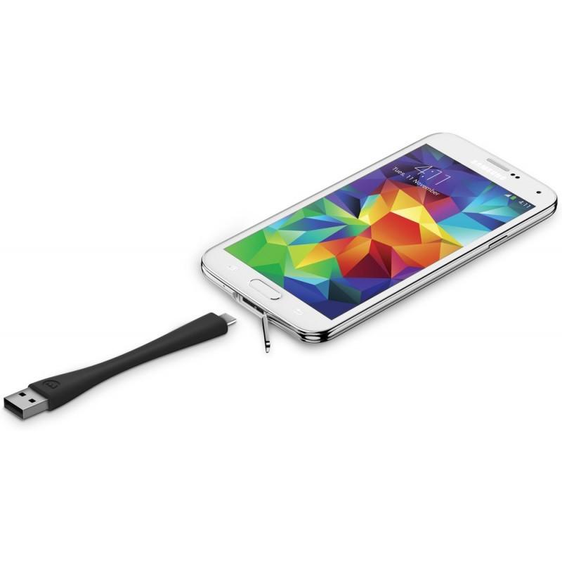 Mophie memory flex Micro USB cable 10 cm zwart