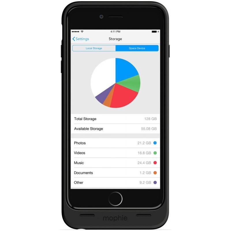 Mophie space pack 64GB iPhone 6(S) Plus 3300 mAh zwart