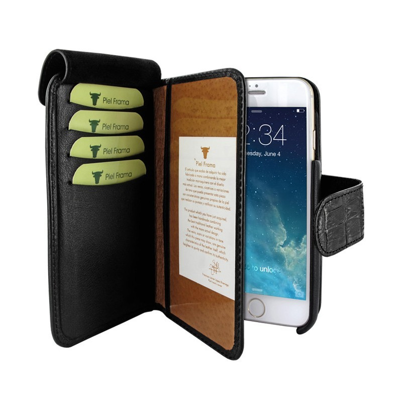 Piel Frama Wallet iPhone 6(S) Plus Croco zwart