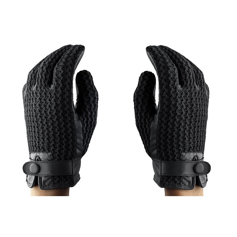 Mujjo Leather Crochet Touchscreen Gloves Size 8 (M)