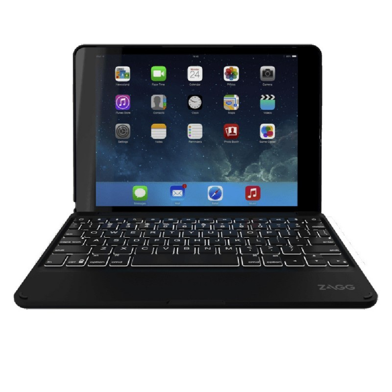 ZAGG ZAGGkeys Folio AZERTY Backlit KeyBoard iPad Air 2 Black