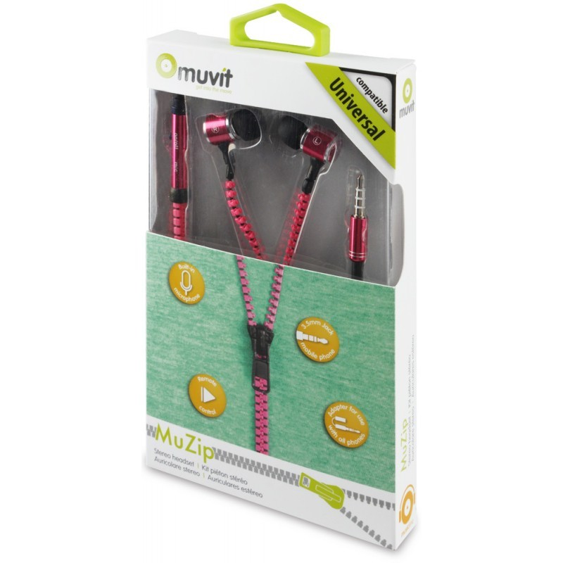 Muvit Zipper Micro In-Ear Headset Pink