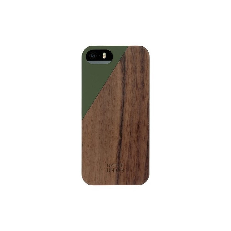 Native Union Clic Wooden iPhone 5/5S/SE - bruin/groen