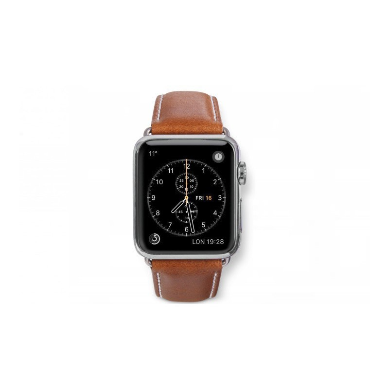 Dbramante1928 Kopenhagen Apple Watch bandje 42mm zilver/bruin
