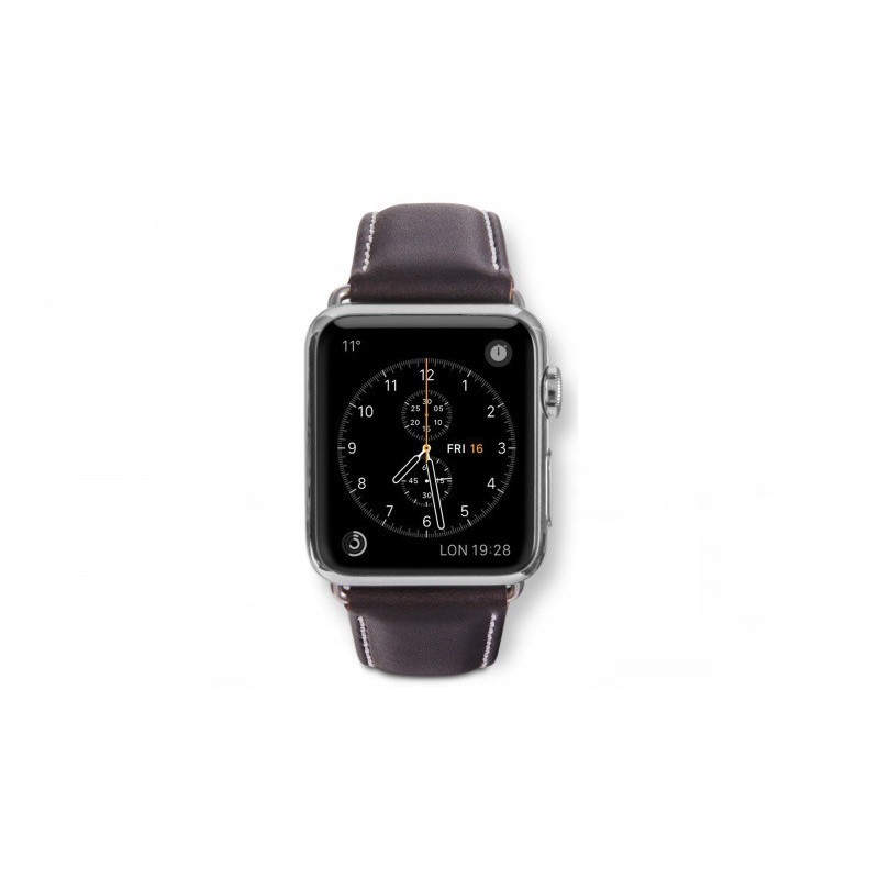 Dbramante1928 Kopenhagen Apple Watch bandje 42mm zilver/donkerbruin