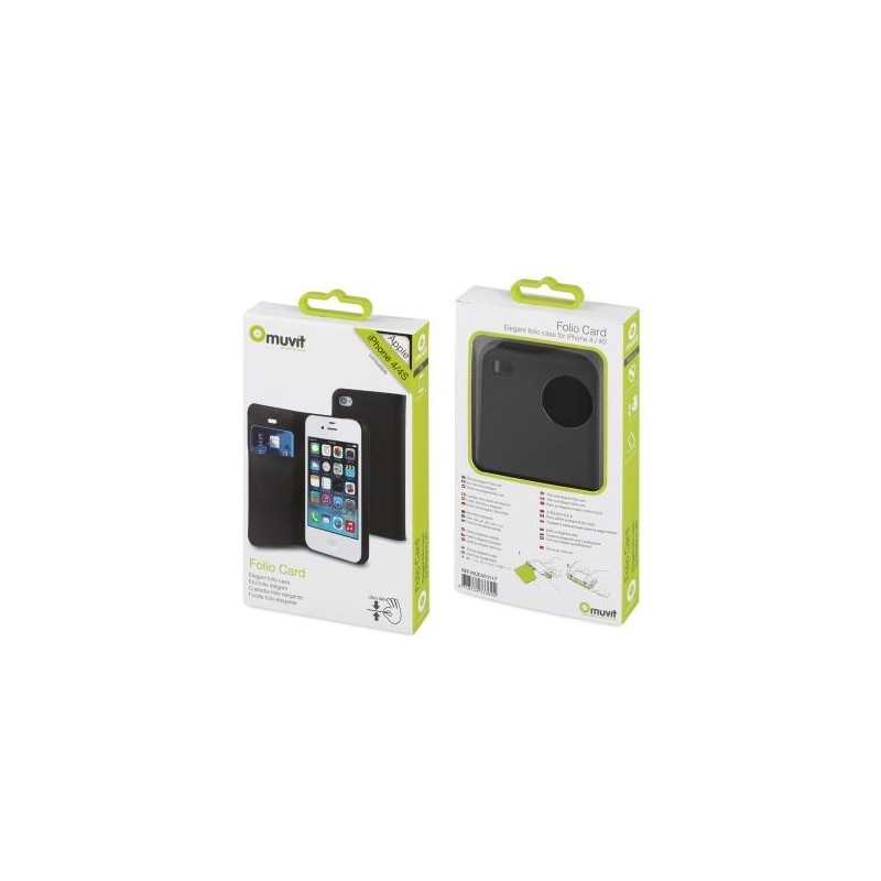 Muvit Folio Card Case iPhone 4(S) zwart