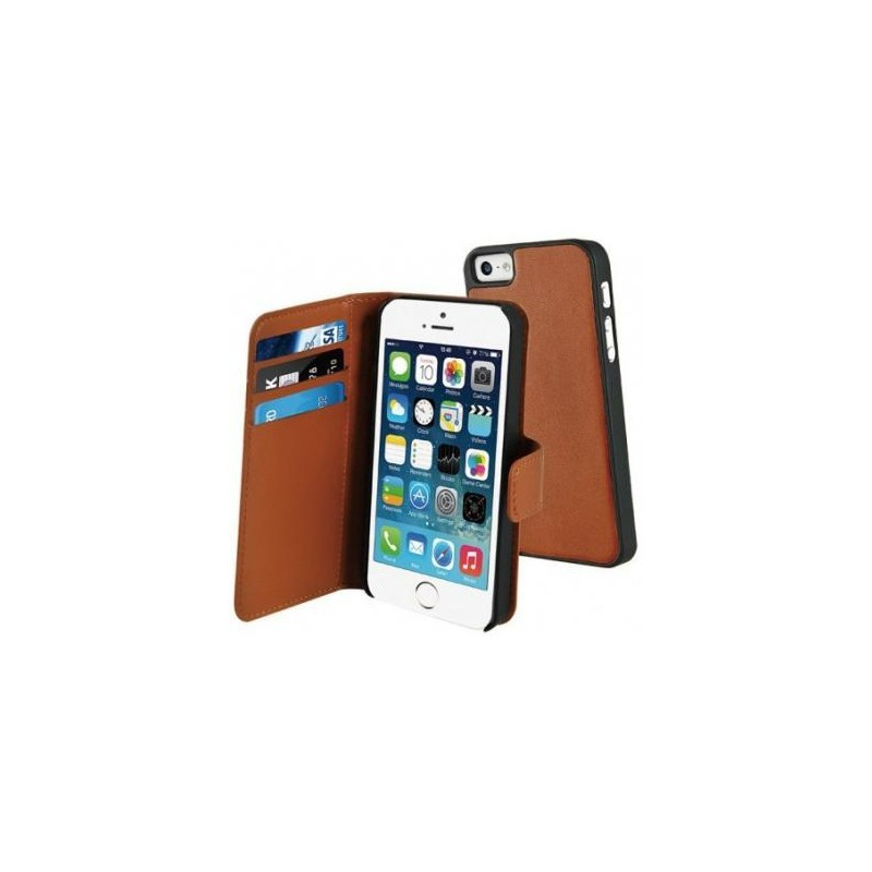 Muvit Magnetic Wallet Case Stand iPhone 5(S)/SE bruin