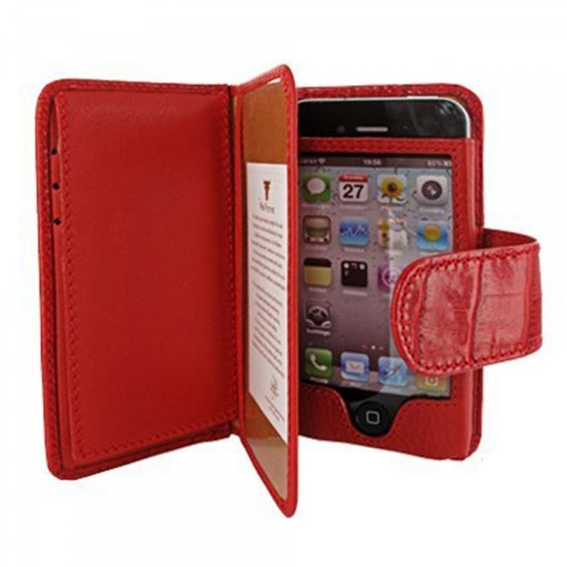 Piel Frama Wallet iPhone 5(S)/SE Crocodile rood