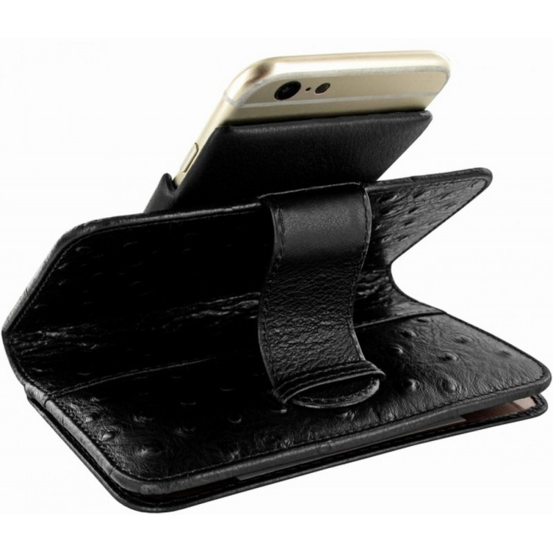 Piel Frama Wallet iPhone 6(S) struisvogel zwart