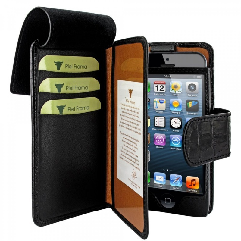 Piel Frama Wallet iPhone 5(S)/SE Crocodile zwart