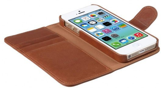 Melkco Alphard iPhone 5 / 5S / SE Book Case Leather Orange Brown