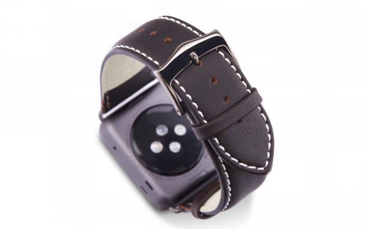 dbramante1928 Copenhagen Apple Watch bandje 42mm grijs/donkerbruin