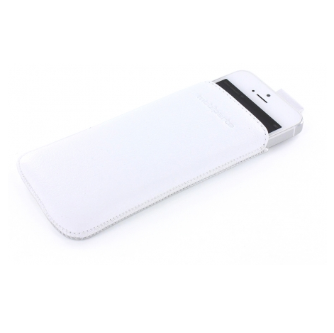 Mobiparts Pouch leer iPhone 5(S)/SE wit