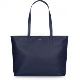 Knomo Maddox Leather Zip Tote 15 inch navy
