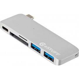 eSTUFF USB-C Slot-in Hub zilver