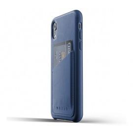Mujjo Leather Wallet Case iPhone XR blauw