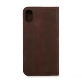 Knomo iPhone X / XS Premium Leather Folio bruin