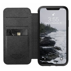 Nomad Rugged Case Folio Leather iPhone XR zwart