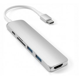 Satechi Type-C USB Passthrough HDMI Hub V2 zilver