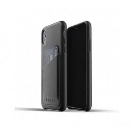 Mujjo Leather Wallet Case iPhone XR zwart