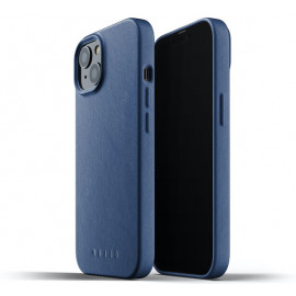 Mujjo Leather Case iPhone 13 blauw