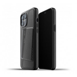 Mujjo Leather Wallet Case iPhone 12 Pro Max zwart