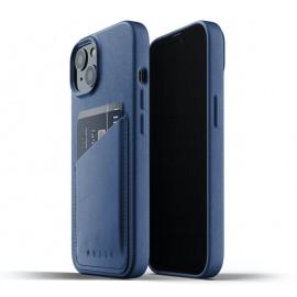 Mujjo Leather Wallet Case iPhone 13 blauw