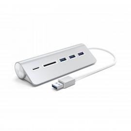 Satechi Type-A Aluminium USB Hub & Card Reader zilver