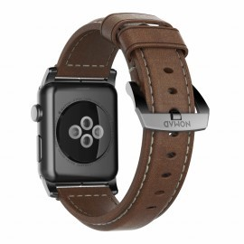 Nomad traditioneel leren bandje Apple Watch 42/44 mm bruin / zwart